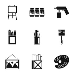 Art icons set. Simple illustration of 9 art vector icons for web