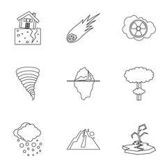 Natural catastrophe icons set. Outline illustration of 9 natural catastrophe vector icons for web