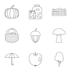 Autumn icons set. Outline illustration of 9 autumn vector icons for web