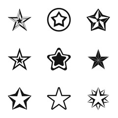 Star icons set. Simple illustration of 9 star vector icons for web