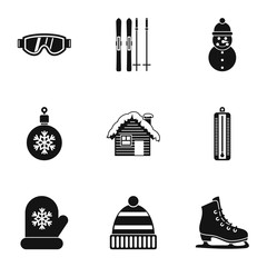 Winter holidays icons set. Simple illustration of 9 winter holidays vector icons for web