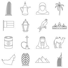UAE travel icons set. Outline illustration of 16 UAE travel vector icons for web