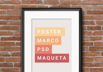 Maqueta de marco para póster colgante