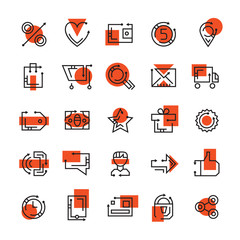 Online store icons. Set of icons for e-commerce websites. Online shopping design. Shopping cart, like button, search icon, wallet, sale sign, contacts, user. Vector set for online selling