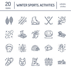 Cute thin line icons of winter sports. Outdoor activities vector elements - snowboard, hockey sled, skates, snow tubing, ice kiting. Linear pictogram with editable stroke for equipment rent ski resort