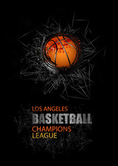Modern Design for the basketball championship. Banner, flyer template sports. Grunge ball. Abstract background. EPS file is layered.