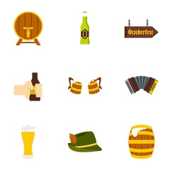Beer icons set. Flat illustration of 9 beer vector icons for web