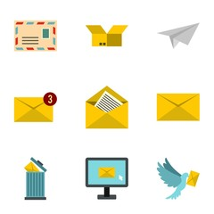 Message icons set. Flat illustration of 9 message vector icons for web