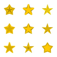 Five-pointed star icons set. Flat illustration of 9 five-pointed star vector icons for web