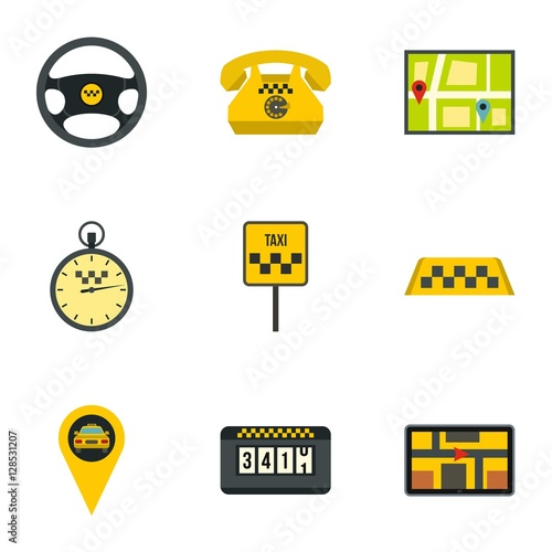 Taxi Icons Set Flat Illustration Of 9 Vector For Web
