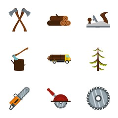 Firewood icons set. Flat illustration of 9 firewood vector icons for web
