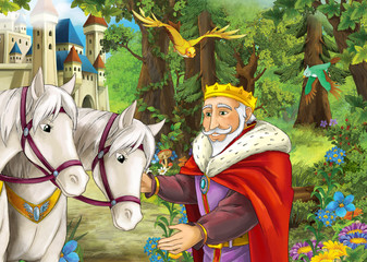 Cartoon happy and funny scene with couple of horses near the path to the forest - some traveler - prince - flying birds - nature scene - beautiful manga girl - illustration for children