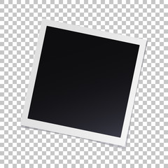 Photo frame with shadow on isolate background with a slope to the right, vector template for your stylish photos or images, EPS10