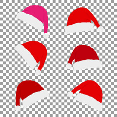 Set hats of Santa Claus on Christmas and New Year with shadow on the background isolate, stylish vector illustration, EPS10