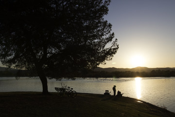 Sunset at the shores of a California lake