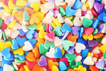 Colorful hearts macro background