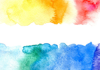 Color gradient watery illustration.Abstract watercolor hand drawn image.Yellow,red and blue splash.White background.