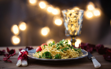 Italian pasta and glass of wine