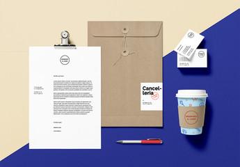 Modello scena branding cancelleria