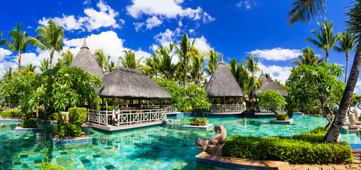 Fototapete - Tropical vacations. Swimming pool and lounge bar in Mauritius island
