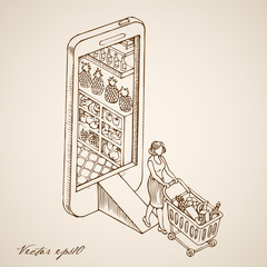 Engraving hand vector Woman wheeled cart online store