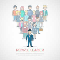 Linear Flat people leader triangle vector. Leadership business