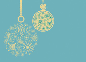 Christmas composition with yellow balls and space for text.Blue background.Illustration