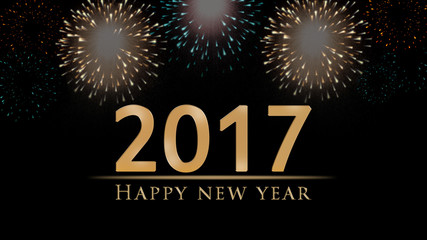 2017 New Year's eve illustration, card with colorful fireworks and golden Happy New Year text on black background