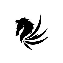 Pegasus Head Logo Vector