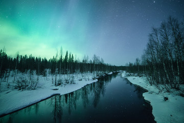 River and northern lights, Lapland, Finland, Scandinavia, Europe