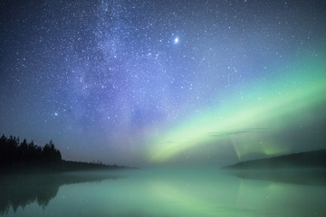 Lake and northern lights, Lapland, Finland, Scandinavia, Europe