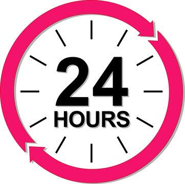 24 hours logo. Vector illustration