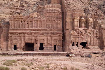 The Corinthian tomb and the Palace tomb which are part the Royal Tombs, Petra, Jordan