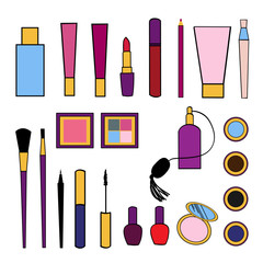 Beauty and care cosmetics colorful vector isolated set