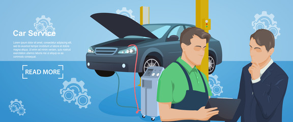 Banner of Auto mechanic service. Car Service. Service station. Maintenance car repair and working