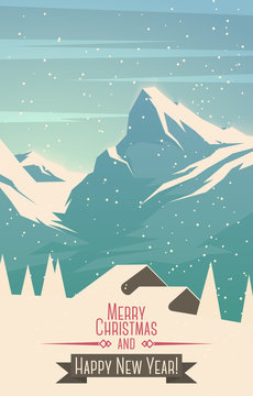 Merry Christmas mountains landscape with house