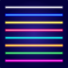 Set of color laser beams. Neon tube light. Vector.