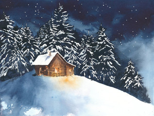 House cabin in the woods in the forest watercolor painting illustration greeting card christmas