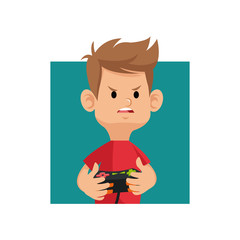 cartoon boy playing video game with controller console vector illustration eps 10