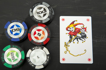 Joker and chips to play poker on a black wooden table