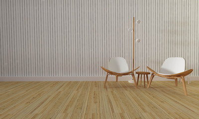 Loft and simple living room with chair and wall background-3d re