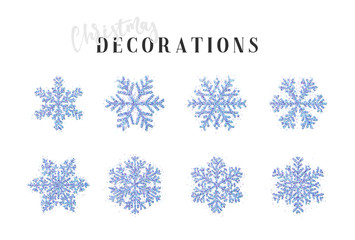 Snowflakes decoration Christmas and New Year's symbols. Set 8 blue different snowflakes of handmade. Winter objects. Festive elements.