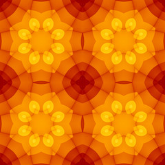 Seamless texture with warm yellow orange red kaleidoscope floral pattern. For print on textiles, sheets, tablecloths, wrapping paper, wall/floor tiles for kitchen/bathroom/hall, phone or PC background