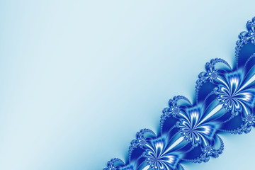 Fancy diagonal ribbon fractal in blue and white glitter, resembling flowers. Text space. For candy box designs, templates, cards, skins, books, leaflets, pamphlets, websites, PC or phone background.