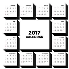Calendar 2017 flat design for a year