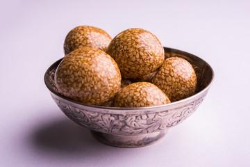 Til ke Ladoo or Til laddu or sesame sweet laddu