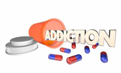 Addiction Drug Abuse Prescription Pill Bottle Word 3d Illustrati