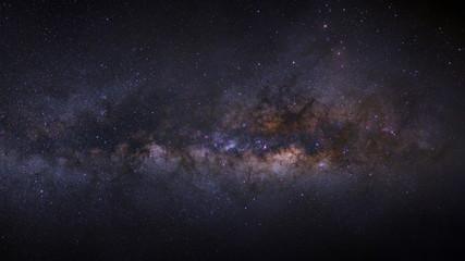 panorama milky way galaxy on a night sky, long exposure photogra