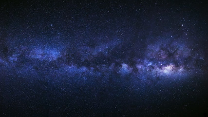 Panorama milky way galaxy, Long exposure photograph, with grain.