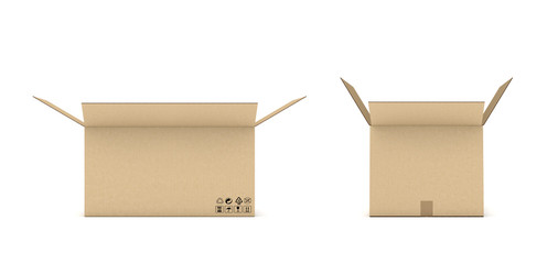 Rendering of open cardboard mail box isolated on a white background